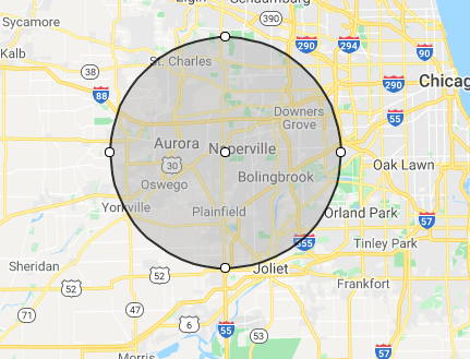 Naperville Glass Replacement Map